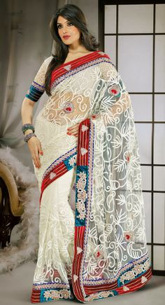 Lush Off White Embroidered Saree