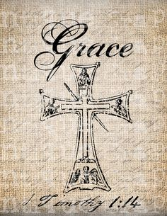 Antique Christian Cross Verse Bible Grace by AntiqueGraphique, $1.00
