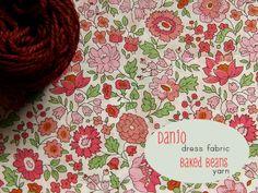 Liberty fabric in warm light green, soft cherry, dusky peach, pale pink; yarn in dark garnet (Posy gets Cosy)