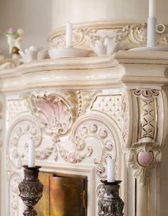 Romantic Shabby Chic ceramic fireplace  (via desire to inspire…