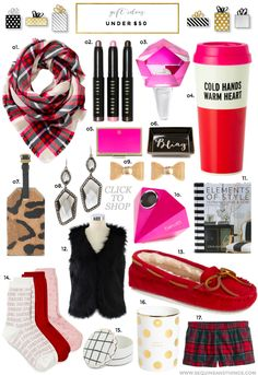 Holiday Gift Guide: Under $50 Socks  Blanket scarf  Elements of style book Shorts  Furry vest