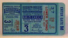 vintage baseball ticket