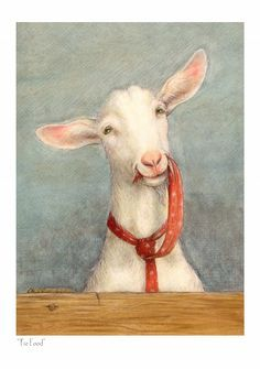 red - Tie Food - goat eating its own tie - illustration - Petra Brown Art And Illustration, Goat Art, Creation Photo, Farm Art, Brown Art, Animal Paintings, Goat Paintings, Petra, Pet Birds