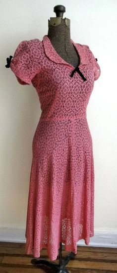 1940s Magenta Cotton Lace Day Dress with by RosebudVintage on Etsy, $158.00