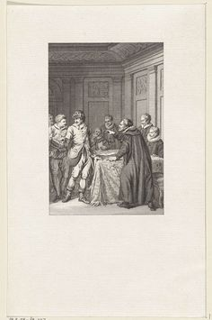 Reinier Vinkeles | Alfons IV, koning van Portugal berispt door een raadsheer, Reinier Vinkeles, Jacobus Buys, 1785 | Alfons IV, koning van Portugal, in jagerskostuum en met jagerstas om de schouder, berispt door een raadsheer.