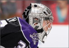 """Los Angeles Kings Jonathan Quick in his """"battle amour"""" themed mask Jonathan Quick, Goalie Mask, Hockey Goalie, Los Angeles Kings, Football Helmets, Battle, Masks, Life, Face Masks"""