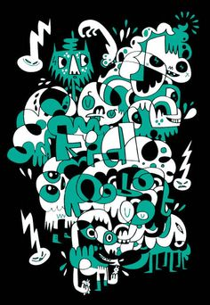Jon Burgerman - Print KidRobot Exclusive Picasso Style, Cool Doodles, Doodle Art Journals, Doodles Zentangles, Traditional Paintings, Art Graphique, Skateboard Art, Cool Paintings, Illustrations And Posters