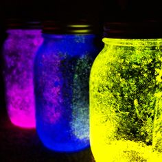 break open glow sticks then put the glowing watery stuff in mason jars add sparkles put on lid and shake really hard