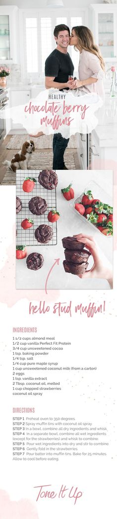 These delicious, healthy chocolate berry muffins are the perfect treat for Valentine's Day! They're even gluten-free! Find these and other amazing Valentine's recipes on ToneItUp.com!