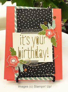 Stampin' Up! Big News + Pretty Petals Designer Paper Birthday Card #stampinup