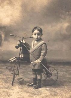 ANTIQUE - PHOTO BOY WITH HORSE TRICYCLE
