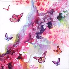 4 Single Lunch Party Paper Napkins for Decoupage Decopatch Craft Painted Dreamer