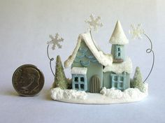 Handmade Miniature WINTER WONDERLAND FAIRY HOUSE  - OOAK - by C. Rohal #CRohal