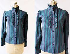 Vintage 70's Library Blouse Ruffle Stripes  by PomegranateVintage, $24.99
