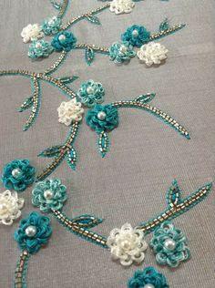 Zardozi Embroidery, Hand Embroidery Dress, Kurti Embroidery Design, Embroidery Neck Designs, Hand Embroidery Videos, Bead Embroidery Patterns, Couture Embroidery, Bead Embroidery Jewelry, Ribbon Embroidery