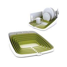 Adorable Dish Drying Rack - holds 4 place settings and drains directly into the sink! Much cuter than wire racks or baskets.