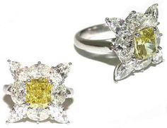 Custom Natural Fancy Yellow and White Diamond Ring #imagesjewelers #customjewelry #diamond #ring