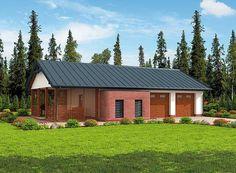 projekt G284 garaż dwustanowiskowy z pomieszczeniem gospodarczym i werandą SLN1562
