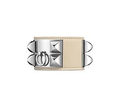"""Collier de Chien Hermes iconic leather bracelet (size L) Chalk swift calfskin  Palladium plated hardware, 2.5"""" diameter, from 7"""" to 7.5"""" circumference."""
