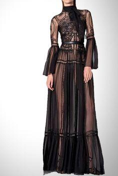 Zuhair Murad Black Lace Long Sleeve Kane Dress DRP19028   Poshare