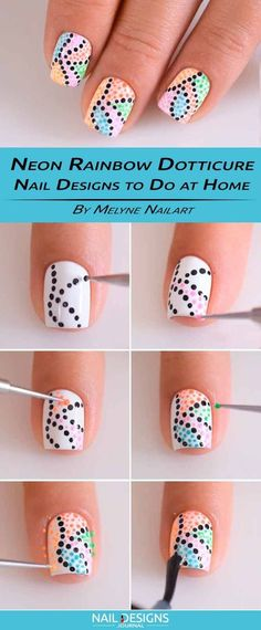 White with colored dot nails