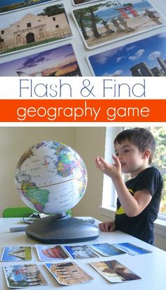 Easy geography game for kids, from @Allison j.d.m j.d.m j.d.m j.d.m @ No Time For Flash Cards  ~ LOVE the colorful photos used to play this game!