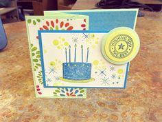 "Birthday card made using the ""Birthday Cake & Candles"" stamp set."