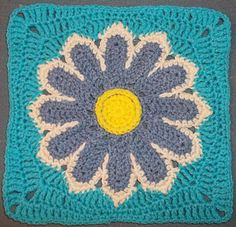 Ravelry: Daisy 12 Petal Square by Jacqui Goulbourn...free pattern!