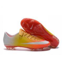 Acheter Chaussure de Football Hommes Nike Mercurial Vapor 10 FG Orange Jaune Or Blanc pas cher en ligne 90,00€ sur http://cramponsdefootdiscount.com