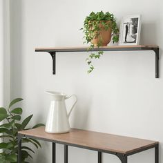 FJÄLLBO Wall shelf, black, 39 This rustic wall shelf is perfect if you want an industrial design feeling at home. Metal and solid wood create the robust look – and it also can be matched with the rest of the FJÄLLBO series. Black Wall Shelves, Ikea Wall Shelves, Rustic Wall Shelves, Solid Wood Shelves, Rustic Walls, Floating Shelves, Wall Shelving, Shelf Wall, Fjällbo Ikea