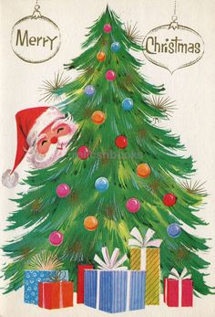 #215 Mid Century Santa Behind the Tree, Vintage Christmas Card-Greeting | Collectibles, Paper, Vintage Greeting Cards | eBay!