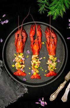 Festliga kräftor med Västerbottensost, bacon ochkrutonger