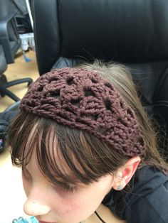 Chocolate merino wool shell hairband.