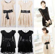 Womens Sexy Lace Long Sleeve Leopar Party Dress Evening Dress M L Black Beige | eBay