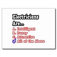 Electrician Quiz...Joke Postcard