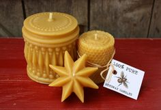 BEESWAX CANDLE SET of 3, Vintage Style Pillar, Honeycomb Pillar, Floating Star Candle- Pure Beeswax Candles, From FarmersDaughterGifts