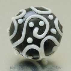Lapel pin  Line art  Black white  lampwork glass by IcedMoments, $15.00