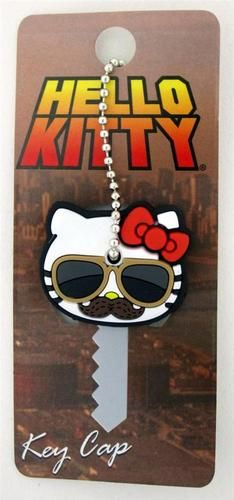 Loungefly Hello Kitty Mustache with Sunglasses Red Bow Rubber Key Cap Cover Loungefly Hello Kitty, Key Caps, Unique Outfits, Mustache, Nerdy, Bows, Sunglasses, Capes, Artwork