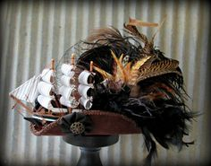 Mini Pirate Ship Hat, Ghost Ship Pirate Hat, Mini Tricorn, Roccoco , Steampunk, Marie Antoinette, Ship Fascinator, Renaissance Hat, Lolitta