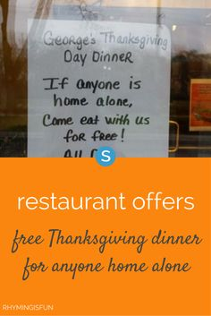 Are you going to be alone on Thanksgiving? Check out this restaurant that is giving away free meals to people that will not be with family to celebrate Turkey Day.