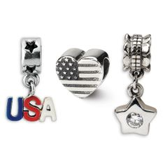 @reflectionbeads: Sterling Silver American Pride Boxed Bead Set