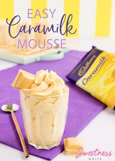 Easy Caramilk Mousse - Super easy, two-ingredient Caramilk Mousse recipe. If you love Cadbury's Caramilk chocolate, you will love this! If you can get your hands on one of these hard-to-find blocks of chocolate gold, this is the perfect way to use it. Easy Desserts, Delicious Desserts, Dessert Recipes, Yummy Food, Mini Desserts, Tea Recipes, Dessert Ideas, Chocolate Mouse Recipe, Chocolate Recipes