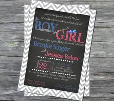 Printable joint Baby Shower invitation  grey by DigiBabyDesign, $15.00