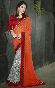 Picture of Lush Deep Orange and Off White Color Casual Saree