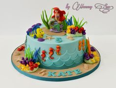 Little Mermaid Cake – Cake by Mommy Sue - birthday Cake White Ideen Little Mermaid Birthday Cake, 5th Birthday Cake, Little Mermaid Cakes, Little Mermaid Parties, The Little Mermaid, Birthday Ideas, Sirenita Cake, Ariel Cake, Sea Cakes