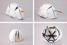 'bloom' helmet by toyo safety unfolds for speedy emergency evacuation.