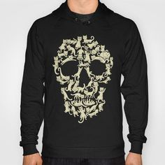 100% Black California Fleece Pullover Hoody. Unique Cat Skull Front Print with kangaroo pocket. This stretchy unisex cut hoody is made for comfort. Wear it your favorite shorts, tights or skinny jeans! Get yours here: https://society6.com/product/catskull328543_hoody?curator=newsybitshttps://society6.com/product/catskull328543_hoody?curator=newsybits