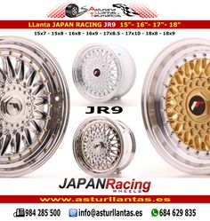En Asturllantas disponemos de toda la gama de llantas japan racing, jr3, jr5, jr6, jr9, jr10, jr11, jr12, jr13, jr14, jr15, jr16, jr17, jr18, jr19, jr20, jr21, jr22, jr23 en varias medidas y anclajes. audi, bmw, mercedes, mini, opel, renault, seat, etc. visita nuestra web www.asturllantas.es allí te informaremos, por tlf. whatsapp o email. neumáticos, mecánica, venta y reparación de llantas, alineado 3d, enderezado, transporte incluido en península y baleares, resto consultar.