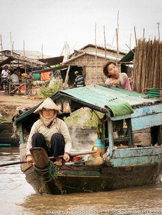 Floating village in Cambodia. https://ExploreTraveler.com
