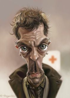 Hugh Laurie this is what Vicodin looks like - CARICATURE: http://dunway.com/